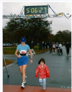 K and I cross the finish line, Mystic Places Marathon 2003
